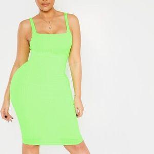 Neon Lime Midi Bodycon Dress square neck